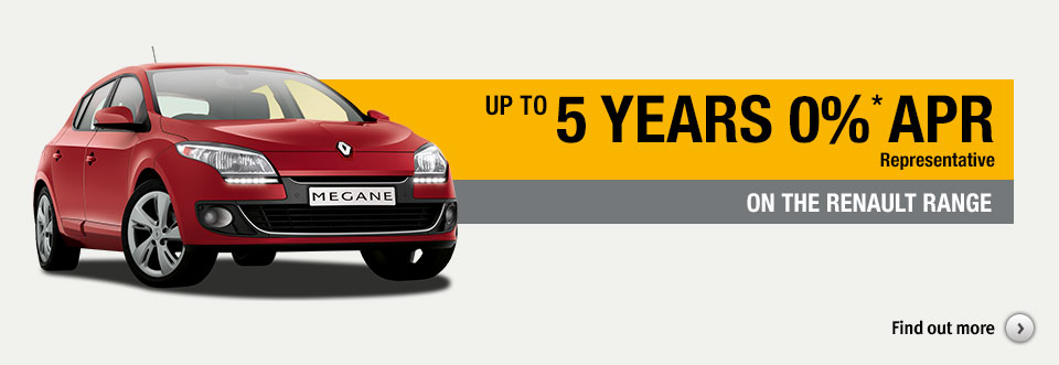 5 Years 0% APR representative on the Renault range