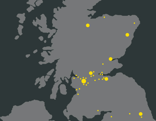 Map of United Kingdom with yellow circles representing Arnold Clark service centres.