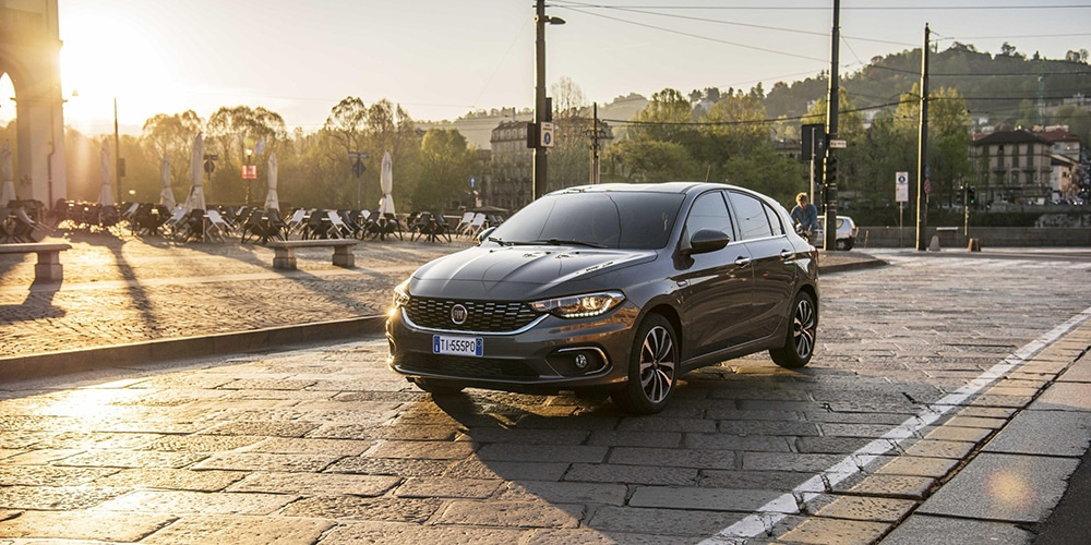 fiat tipo on cobbled street