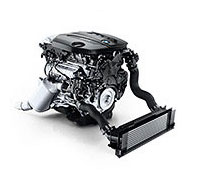 Photograph on a white background of the BMW TwinPower Turbo four-cylinder diesel engine