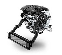 Photograph on a white background of the BMW TwinPower Turbo four-cylinder petrol engine