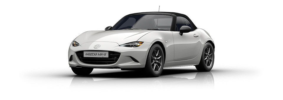 Mazda MX-5 car in Arctic White colour