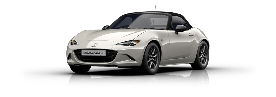 Mazda MX-5 car in Crystal White colour