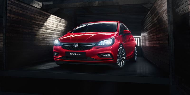 Photograph of the front of a Vauxhall Astra car.