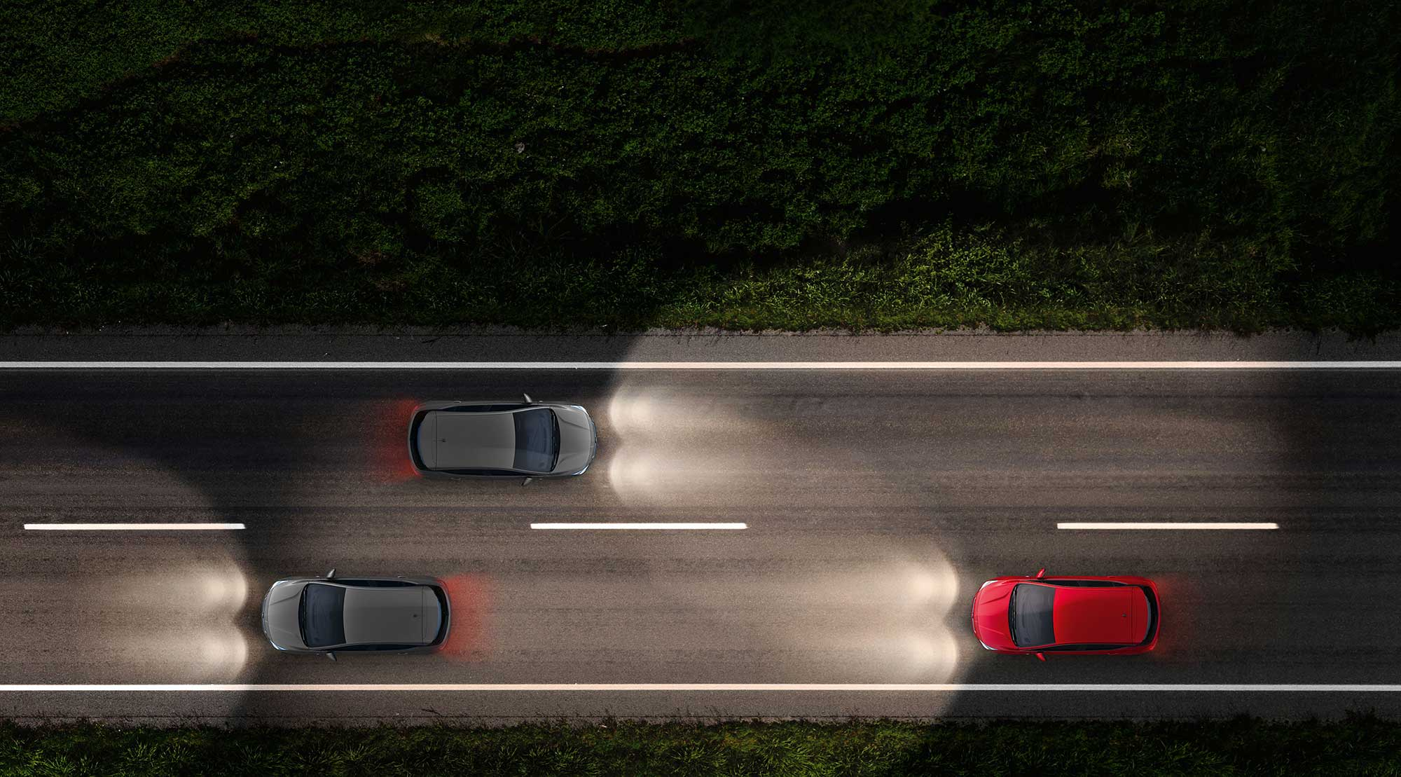Top-down view of the Vauxhall Astra car displaying its Intelilux Headlights technology.